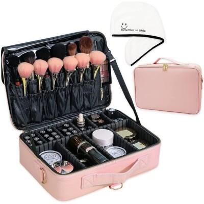 【KASHIRI タオルキャップ付】 メイクボックス 化粧バッグ 化粧品収納バッグ コスメポーチ メイクブラシケース バニティーバッグ 旅行用 化粧品