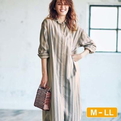 Ranan 【M~LL】綿混ゆったりロングシャツ グリーン M レディース