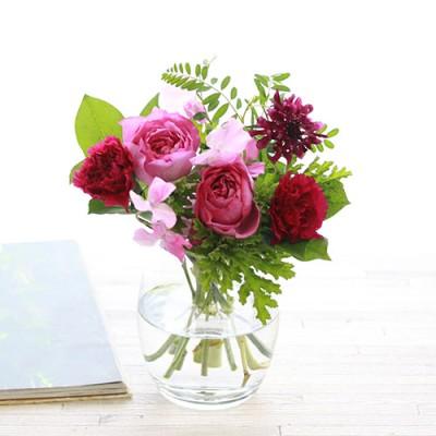 青山フラワーマーケット 生花 カラードブーケ(ロゼ) バルーンベースセット バラ フラワーギフト プレゼント