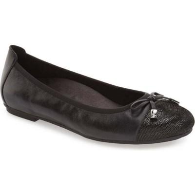 バイオニック VIONIC レディース スリッポン・フラット シューズ・靴 'Minna' Leather Flat Black Leather