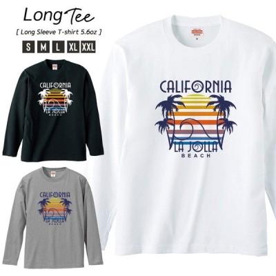 Tシャツ メンズ ロンT 長袖 ユニセックス クルーネック Uネック カリフォルニア 夏 ビーチ 露語 ヤシの木 海 太陽