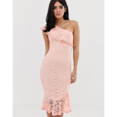 アックスパリス AX Paris レディース ワンピース ワンピース・ドレス frill detail one shoulder midi dress Blush