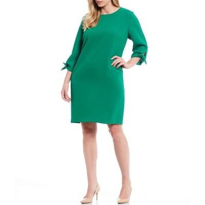 セセ レディース ワンピース トップス Plus Size Round Neck Tie Sleeve Shift Dress Lush Green