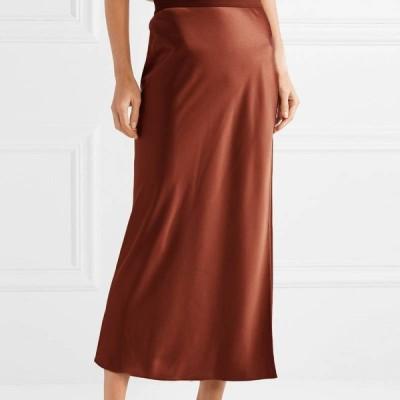 スカート サテンナロースカート サテン ブラウン ブラック グリーン 光沢 上品 艶やか 華やか ロング丈 ファスナー タイト フレア シンプル おしゃれ 大人 通勤