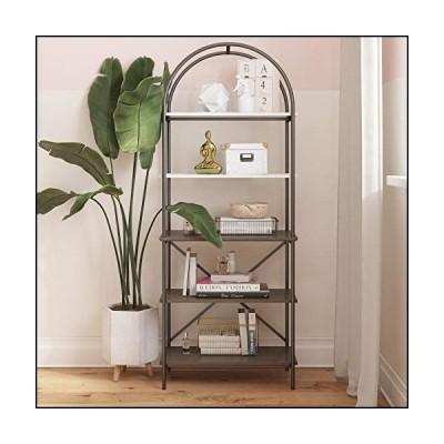 CosmoLiving by Cosmopolitan Vivinne 5 Shelf Oak Bookcase, Gray (Wood Grain)