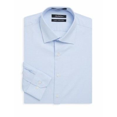 サックスフィフスアベニュー メンズ ドレスシャツ ワイシャツ Dobby Windowpane Cotton Dress Shirt
