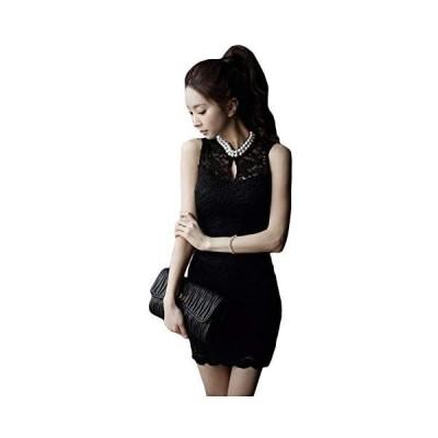 [オジェ二] ミニドレス ワンピース ブラック ホワイト ミニ丈 ビジュー パーティー 結婚式 黒 白 大人 ドレス (ブラック XL)