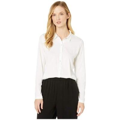 エイリーンフィッシャー レディース シャツ トップス Organic Cotton Easy Jersey Classic Collar Shirt