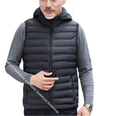 中綿ベスト メンズベスト ダウンコットン 暖か あったかい 男性 超軽量 インナー 無袖 チョッキ 重ね着 秋冬 防風 防寒対策 ショート