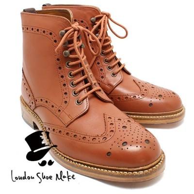 London Shoe Make 602 グッドイヤー製法ウィングチップブーツ タン カジュアルブーツ ビジネス ドレス 紐靴 革靴 仕事用 メンズ
