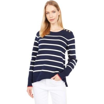 ジュールズ Joules レディース ニット・セーター トップス Crew Neck Sweater w/ Button Shoulder Navy Stripe