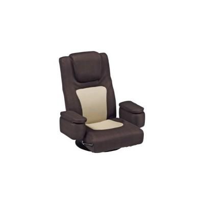 ds-1314077 リクライニング回転座椅子 肘掛け 頭部枕付/背部ガス圧無段階リクライニング ブラウン 【代引不可】 (ds1314077)