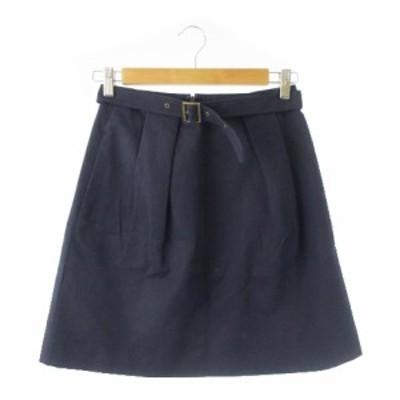 【中古】マカフィー MACPHEE トゥモローランド スカート 台形 ミニ ベルト 36 紺 ネイビー /YH2 ☆ レディース