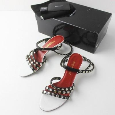 Dolce&Gabbana ドルチェ&ガッバーナ スタッズ レザー ストラップ サンダル 37/レッド × ブラック ピンヒール 2400011399229