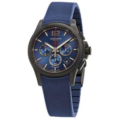 腕時計 ロンジン メンズ Longines Conquest V.H.P. Perpetual Chronograph Quartz Blue Men's Watch