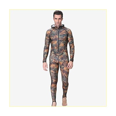 Lunch Box Wetsuit Men with Hood UPF50+ Camouflage Snorkeling Dive Skin Adult Rash Guards One-Piece for Swimming Jumpsuit Surfing,Camouflage,