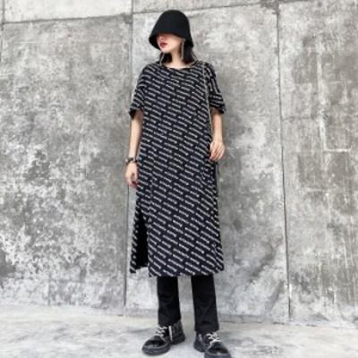 レディース 半袖 ロング Tシャツ ロゴ スナップ モード ルーズ ゆったり 大きいサイズ レディースファッション