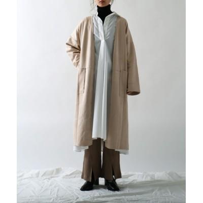 Fashion Letter / スエードノーカラーロングガウン WOMEN ジャケット/アウター > チェスターコート