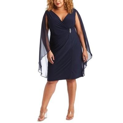 アールアンドエムリチャーズ ワンピース トップス レディース Plus Size Embellished Chiffon-Cape Dress Navy Blue
