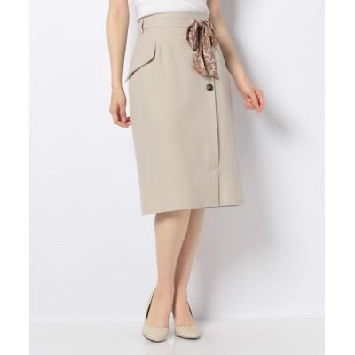 【ファビュラス アンジェラ】 ペイズリー柄ベルト付き2WAYタイトスカート レディース ベージュ M Fabulous Angela