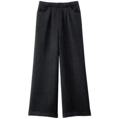 やさしい温もり大人のウール調ワイドパンツ/ブラック/M(64~70)