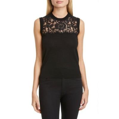 ドルチェ&ガッバーナ DOLCE&GABBANA レディース ノースリーブ トップス Lace Panel Wool Blend Shell Black