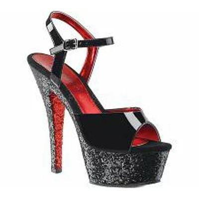 Pleaser レディースサンダル Pleaser Kiss 209TTG Platform Sandal Black Patent/