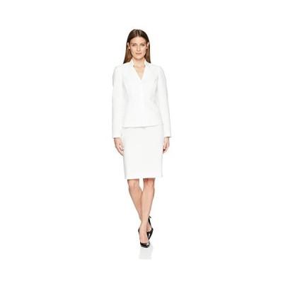 並行輸入品Le Suit レディース ジャカード 3 Btn 襟なしスカートスーツ US サイズ: 6 カラー: ホワイト