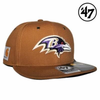 47ブランド カーハート コラボ ストラップバックキャップ 帽子 メンズ レディース 47BRAND CARHARTT NFL ボルティモア レイブンズ フリー