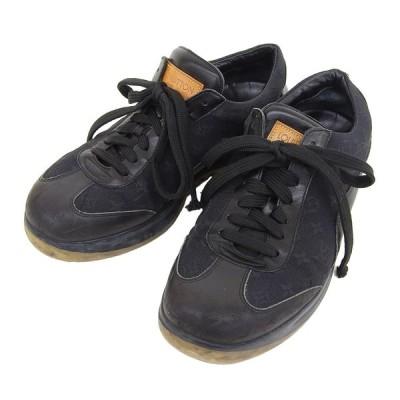 ルイヴィトン LOUIS VUITTON モノグラム ミニ スニーカー 靴 黒 5 本物保証