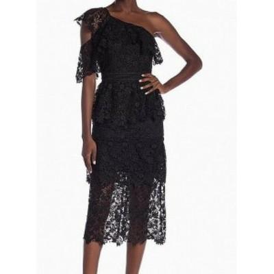 Joie ジョイー ファッション ドレス Joie NEW Black Floral Crochet Lace One Shoulder Ruffled 4 Sheath Dress