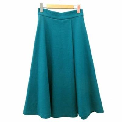 【中古】アナイ ANAYI スカート ミモレ丈 ロング ウール フレア 38 ターコイズ 青 ブルー R012805 レディース