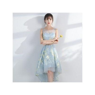 パーティードレス ノースリーブ フィッシュテール 透け感レース 花柄 総柄 リボン 大人 レディース ワンピース 結婚式 二次会 お呼ばれドレス kh-0130