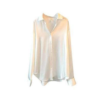 (ショッフェ)レディース ワイシャツ シルク 白 光沢あり ブラウス トップス ポロシャツ オールシーズン 長?