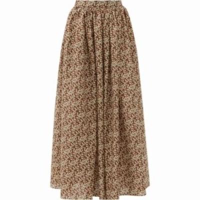 マトー Matteau レディース ロング・マキシ丈スカート スカート Gathered floral-print cotton maxi skirt Brown