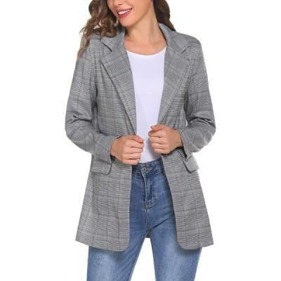 レディース ルーズボタン ワーク オフィス ブレザー スーツ カジュアル 格子縞 長袖ジャケット ポケット付き(s210204802)