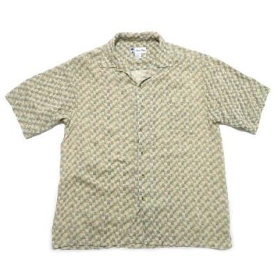 古着 Island Blue ボックスシャツ 総柄 レーヨン サイズ表記:L