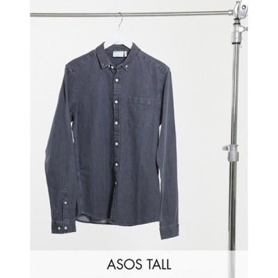エイソス メンズ シャツ トップス ASOS DESIGN Tall slim fit organic denim shirt in washed black