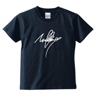 mulberry(サイン)Tシャツ文字白(キッズTシャツ)(カラー : インディゴ, サイズ : 130)