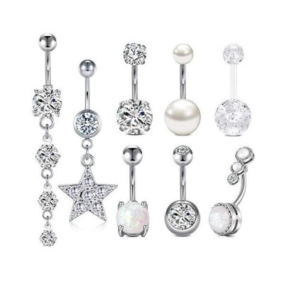 Longita Silver Belly Button Rings for Women Surgical Stainless Steel 14g Op