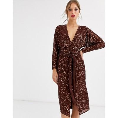 エイソス レディース ワンピース トップス ASOS DESIGN midi dress with batwing sleeve and wrap waist in scatter sequin