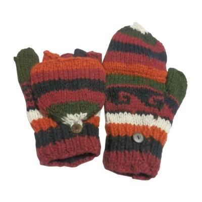 手袋 アジアン衣料 ネパール手編みカバー付き指なし手袋(フリース付)14  クリックポスト選択 送料200円