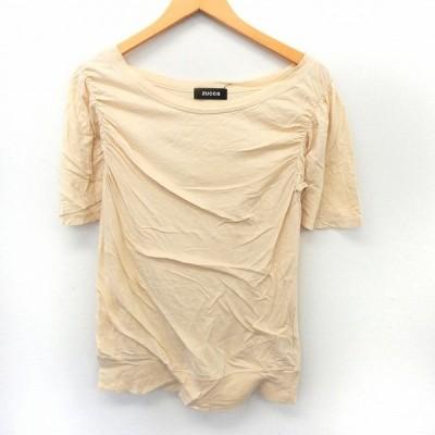 【中古】ズッカ zucca カットソー Tシャツ 半袖 パフスリーブ ドレープ シンプル M ベージュ /ST2 レディース 【ベクトル 古着】