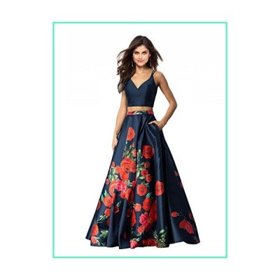 Lily Wedding Womens 2 Piece Floral Printed Prom Dresses 2018 Long Formal Evening Ball Gowns with Pockets GD32 Size 4 Navy Blue並行輸入品