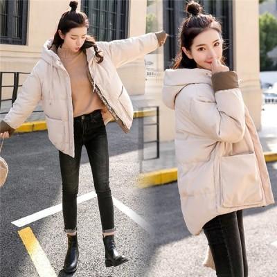 中綿ジャケット レディース 冬服 フード付き ゆったり ショートコート 体型カバー 暖かい ダウンコート アウタージャケット 厚手