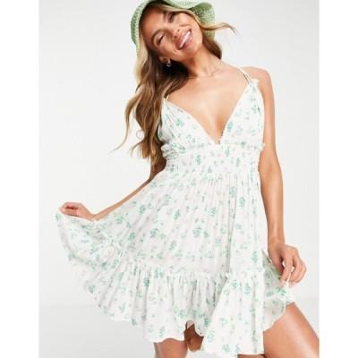 エイソス レディース ワンピース トップス ASOS DESIGN tiered skinny tie beach dress in ditsy floral
