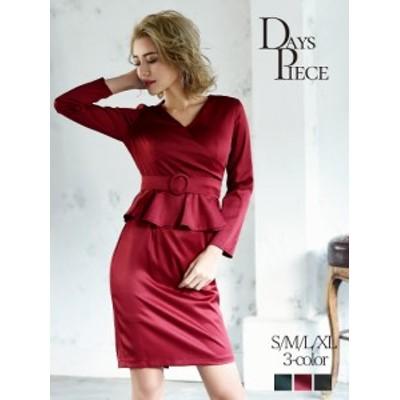 キャバ ドレス ワンピース パーティードレス DaysPiece カシュクール ペプラム 膝丈 ワンカラー ナイトドレス