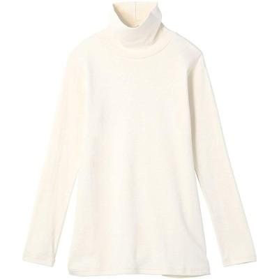 [セシール] Tシャツ ロング丈 UVカット ルーズネック 綿100% 長袖Tシャツ レディース MU-567 オフホワイト(ロング丈) M