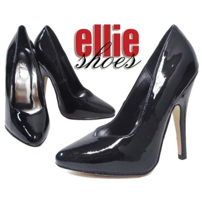 LA直輸入ellie shoes(エリーシューズ)ハイヒールパンプス/ピンヒール8220 ブラックエナメル 黒パテント パーティー フォーマル ダンス衣装 ウェディング
