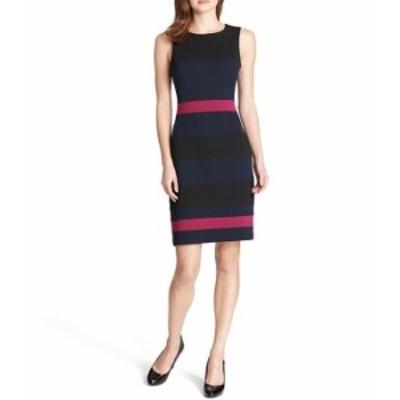 トミー ヒルフィガー レディース ワンピース トップス Colorblock Stripe Sleeveless Sheath Dress Black/Sky Captain